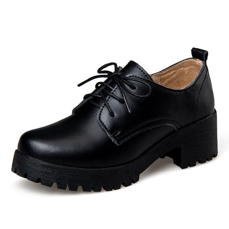 Lace-up PU Casual Chunky Heel Oxfords
