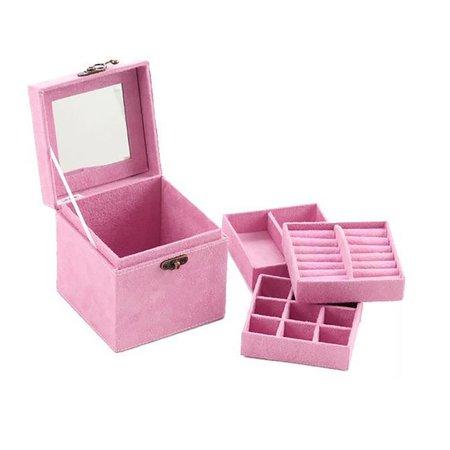 Women Exquisite Three Layer Twist Lock Jewelry Cosmetic Box Storage Bag