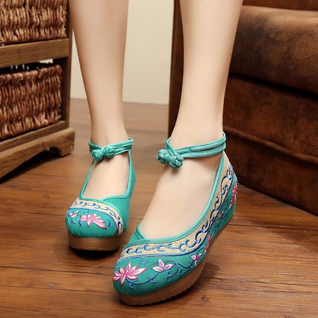 Floral Embroidered Fall Cloth Wedge Heel Flats