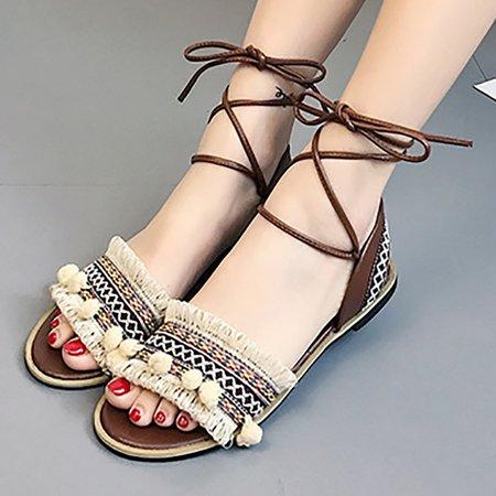 Cloth Spring Casual Flat Heel Sandals