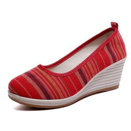 Vintage Stripes Cloth Wedge Heel Shoes