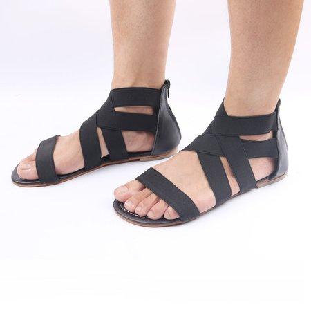 Large Size Elastic Band Zipper Sandals