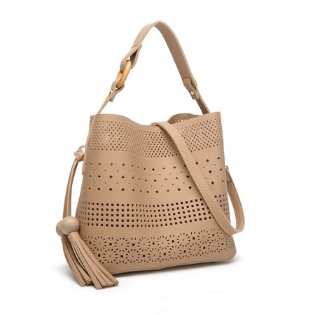 Stylish Hollowed Pattern PU Leather Handbag Crossbody Bag For Ladies