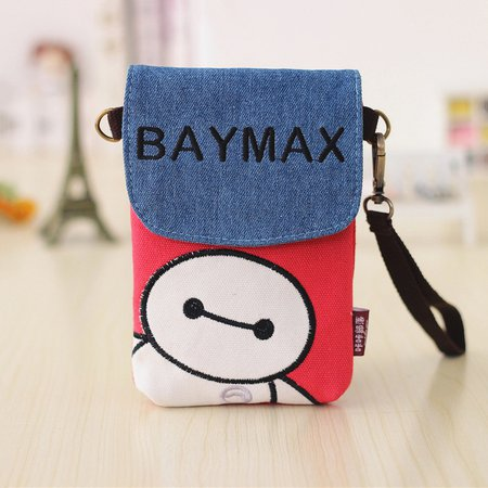 Cute Printed Canvas Phone Purse Crossbody Bag For Women