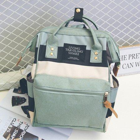 Large Capacity Canvas Color-block Multi Pockets Backpack School Bag