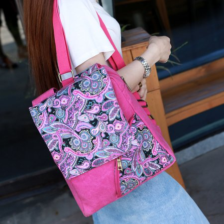 Vintage Printed Canvas Backpack For Women
