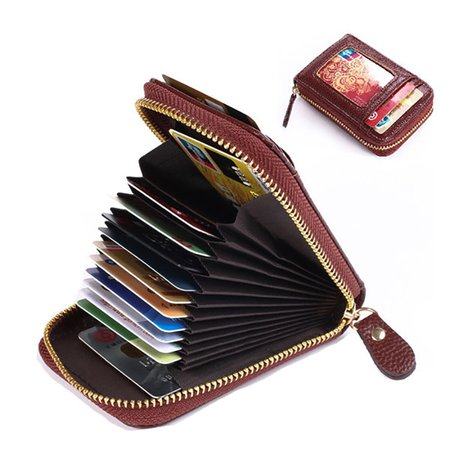 PU Leather Solid 11 Card Slot Card Holder Concise Wallet For Women