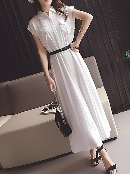 Women Casual Dress Daily Pockets Solid Dress