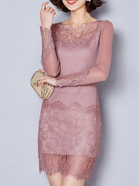 Women Elegant Dress Crew Neck Sheath Going out Long Sleeve Paneled Dress