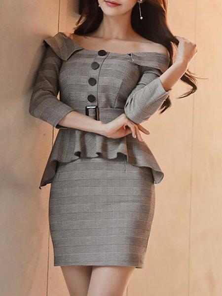 Gray Women Elegant Dress Going out Elegant Cotton-blend Dress