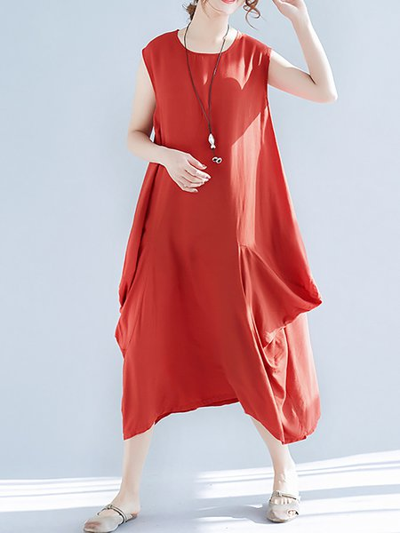 Women Casual Dress Crew Neck Shift Daytime Sleeveless Solid Dress