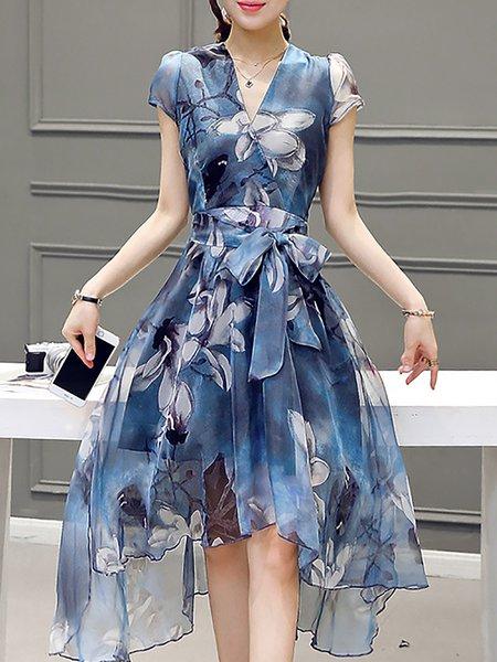 Blue Women Elegant Dress V neck Going out Elegant Floral-print Dress