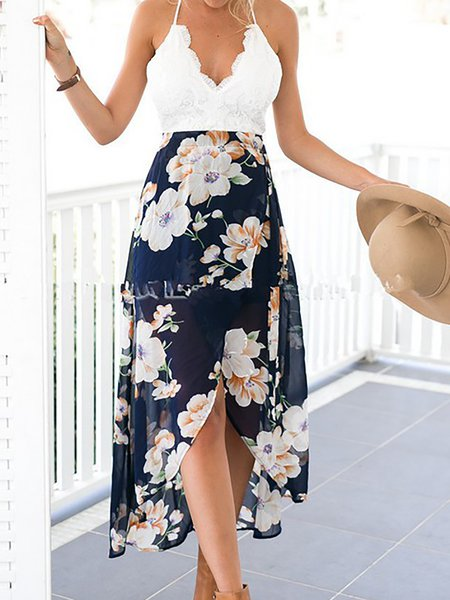 White Women Casual Dress V neck Beach Sleeveless Elegant Dress