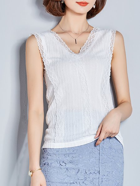 Lace Sleeveless V neck Tank