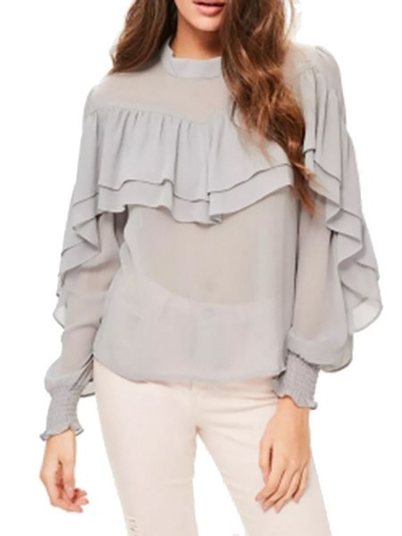Casual A-line Stand Collar Solid Long Sleeve Blouse
