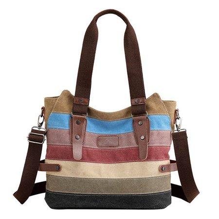 Vintage Multicolor Durable Canvas Shoulder Bag Crossbody Bag For Women