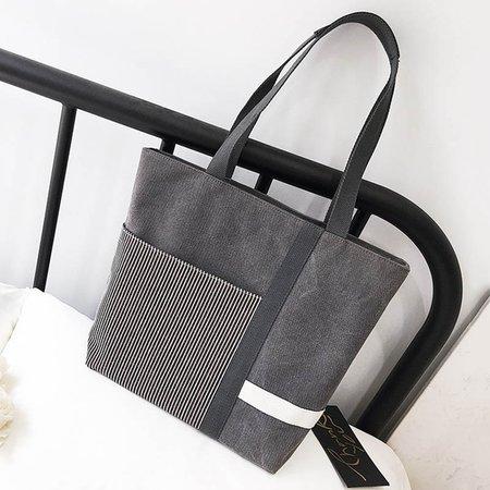 Women Canvas Stripe Large Capacity Tote Bag Shoulder Bag