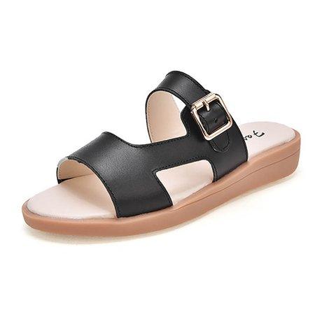 Flat Heel Split Leather Buckle Slippers
