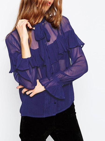 Ruffled Chiffon See-through Look Shirts
