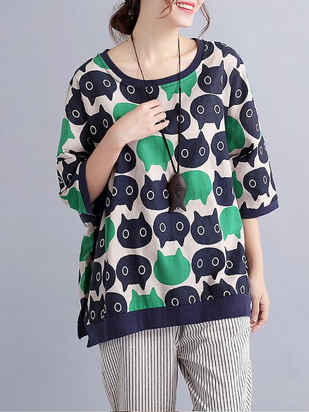 Linen Half Sleeve Printed T-Shirt