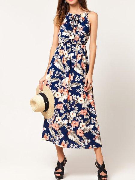 Blue Women Print Dress Crew Neck Daytime Paneled Floral Dress