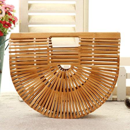 Chic Elegant Ladies Bamboo Basket Bag Hand Made Beach Tote Bag