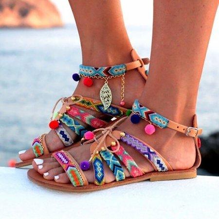 Bohemian Multicolor Buckle Sandals