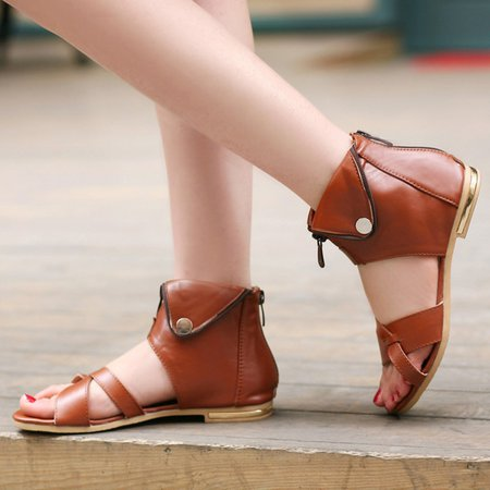 PU Zipper Casual Sandals