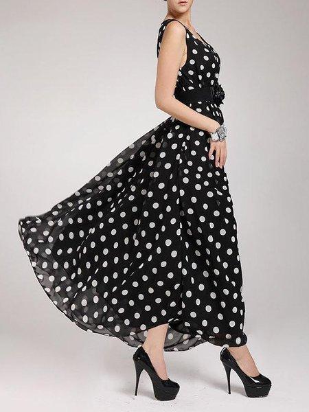 Black Women Elegant Dress Crew Neck Going out Sleeveless Polka Dots Dress