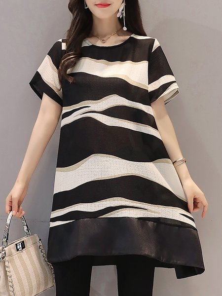 Black Women Casual Dress Crew Neck Going out Short Sleeve Printed Dress