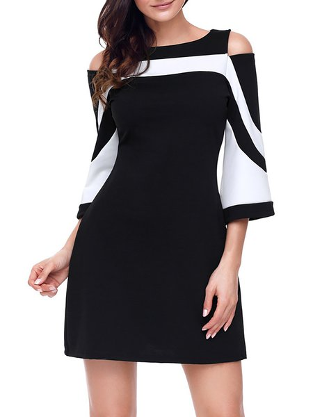 Women Casual Dress Cold Shoulder Daytime Half Sleeve Cotton-blend Dress
