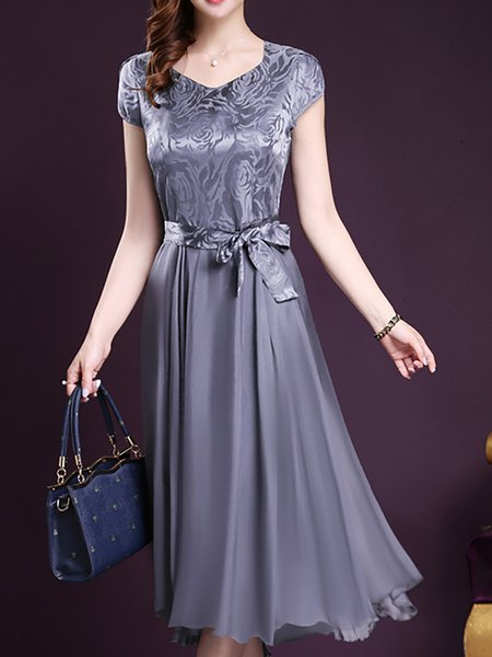 Women Elegant Dress V neck Evening Short Sleeve Solid Dress
