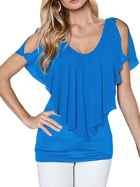 Cold Shoulder Casual Solid Blouse