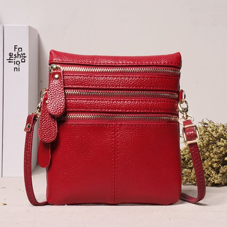 Women Genuine Leather Multi-Function Phone Purse Crossbody Bag