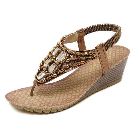 Casual Rhinestone PU Wedge Heel Sandals