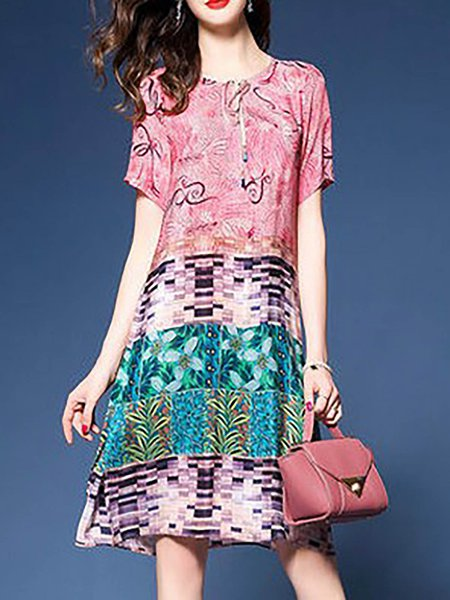 Pink Women Casual Dress Crew Neck Going out Floral-print Floral Dress