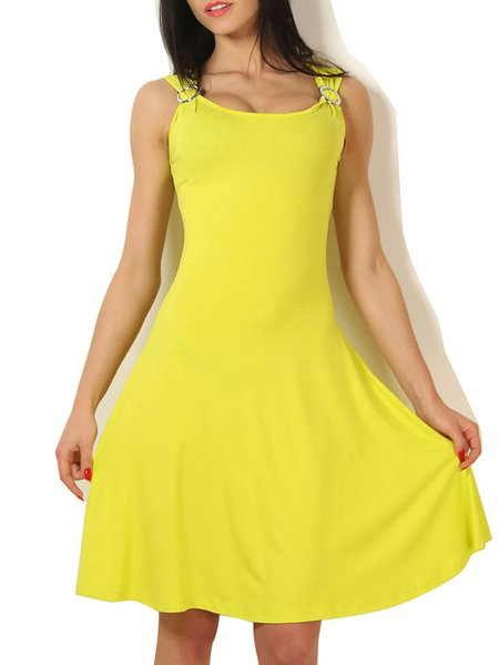 Women Casual Dress Crew Neck Going out Sleeveless Solid Dress