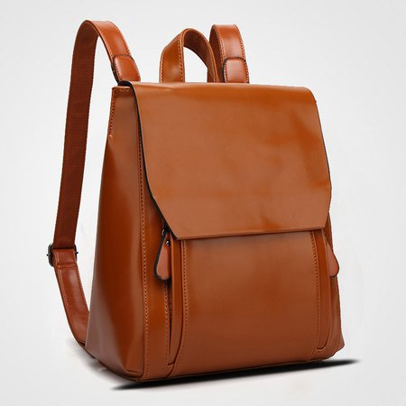 Cowhide Leather Multi-slots Backpack School Bag For Women Men