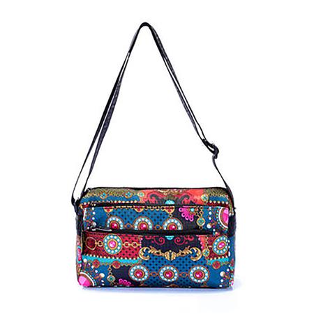 Vintage Printed Polyester Multi Pockets Crossbody Bag For Ladies