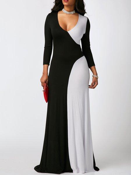 Black Women Casual Dress Evening Cotton-blend Paneled Dress