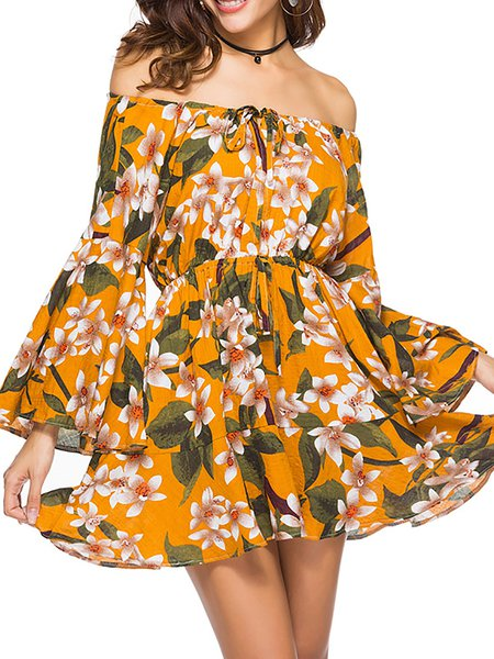 Women Casual Dress Off Shoulder Daytime Chiffon Floral Dress