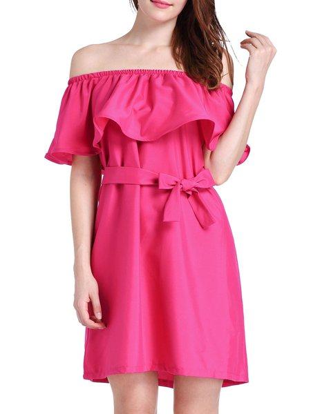 Women Elegant Dress Going out Half Sleeve Solid Dress