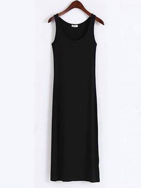 Women Casual Dress Crew Neck Daytime Sleeveless Solid Dress