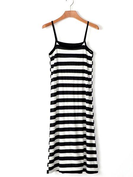 White Women Casual Dress Daytime Stripe Striped Dress