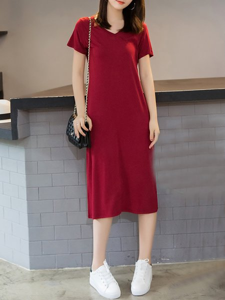 Women Casual Dress Daytime Short Sleeve Solid Dress