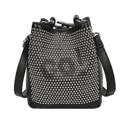 Women PU Leather Chic Rivet Decoration Bucket Bag Crossbody Bag