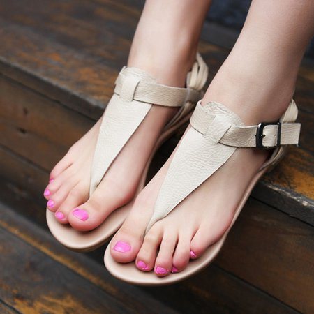 Leather Adjustable Buckle Sandals