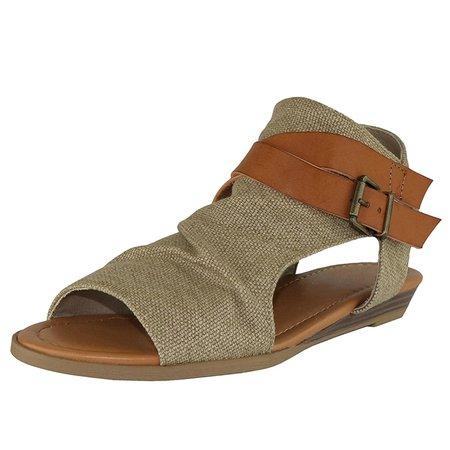 Denim Cloth Buckle Sandals