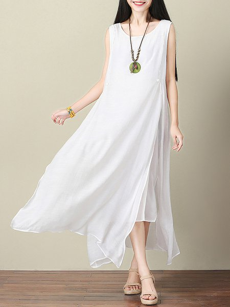 White Women Casual Dress Crew Neck Going out Sleeveless Solid Dress