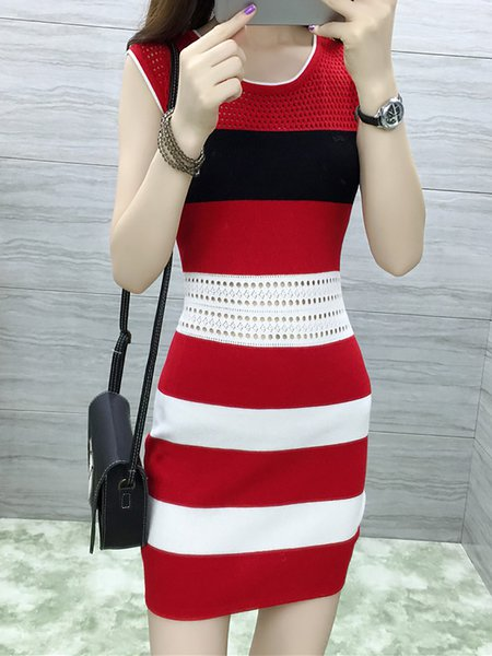Women Casual Dress Crew Neck Daily Sleeveless Striped Dress